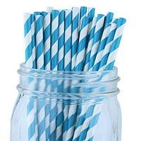 Just Artifacts Decorative Striped Paper Straws (100pcs, Striped, Teal)