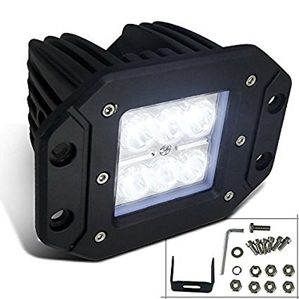 Spec-D Tuning LF-3806SSQ 18W 6000K Cree LED Spot Off Road Bumper Mount Work Light Fog -