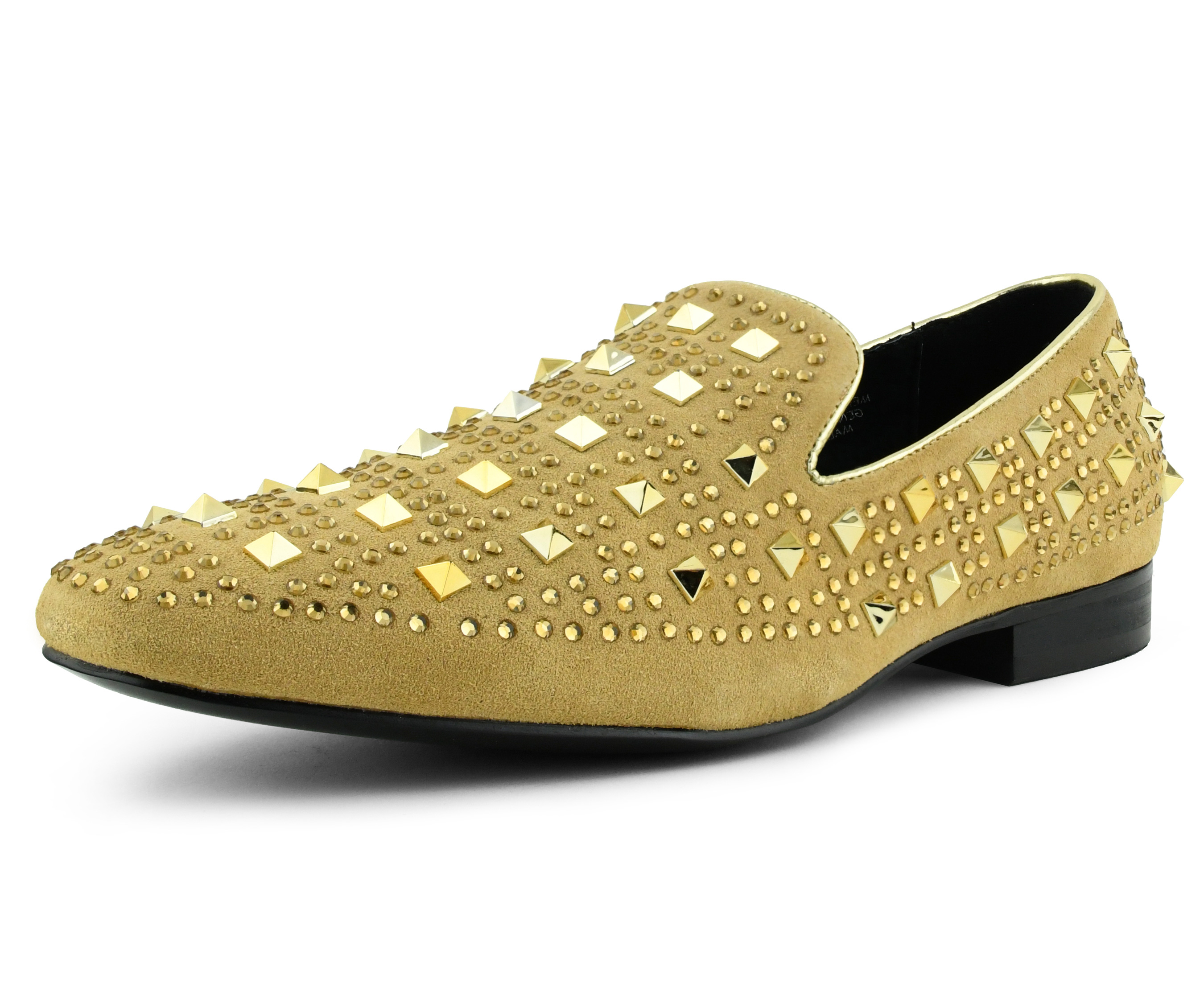 Men/'s Asher Green Gold Crystals Black Suede Smoking Slip on Shoes AG865-428
