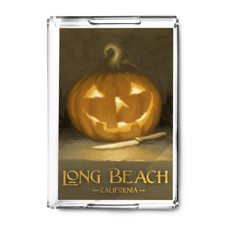 Long Beach, California - Jack-O-Lantern - Halloween - Oil Painting - Lantern Press Artwork (Acrylic Serving Tray)