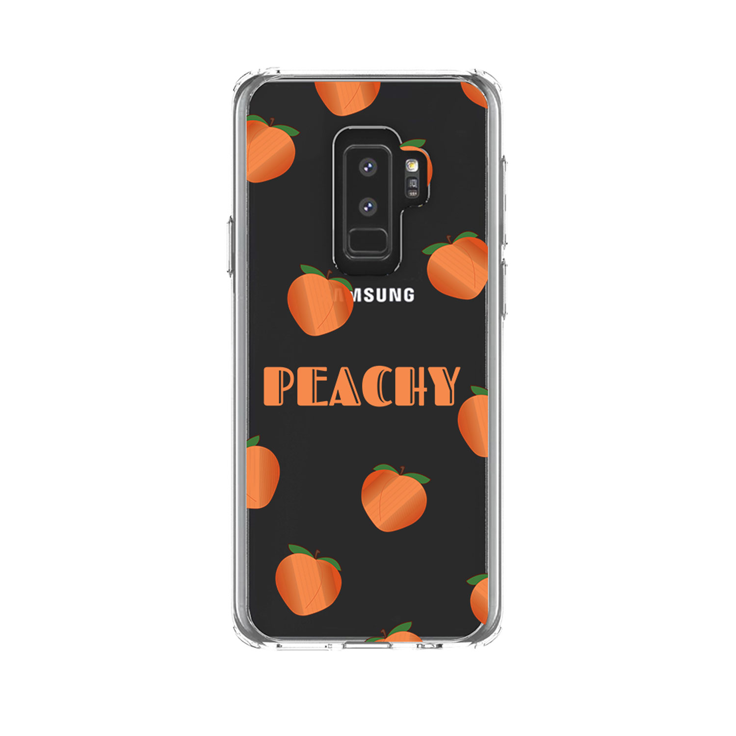 "DistinctInk Clear Shockproof Hybrid Case for Samsung Galaxy S9+ PLUS (6.2"" Screen) - TPU Bumper, Acrylic Back, Tempered Glass Screen Protector - Peachy - Peach Emoji"