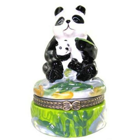 - Giant Panda Bear and Baby Cub Trinket Box Porcelain Hinged Box