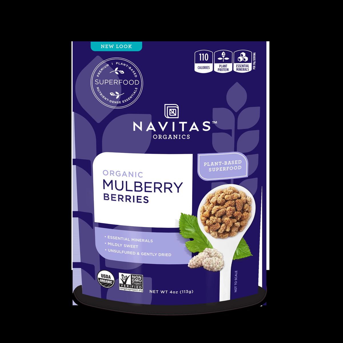 Navitas Organics Mulberry Berries, 4.0 Oz, 4 Servings