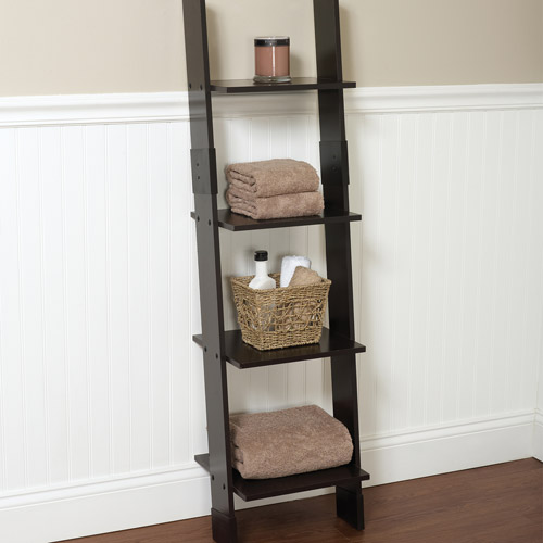 Hawthorne Bathroom Wood Ladder Linen Tower, Espresso