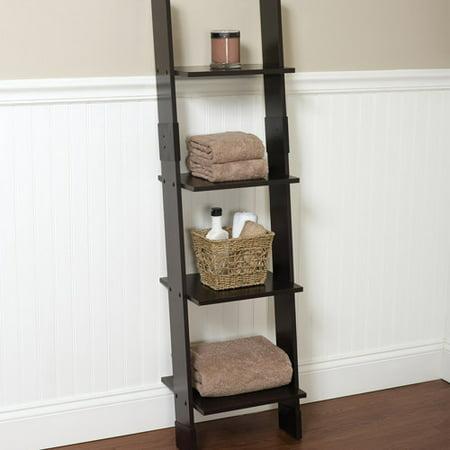 Hawthorne bathroom wood ladder linen tower espresso for Bathroom ladder shelf