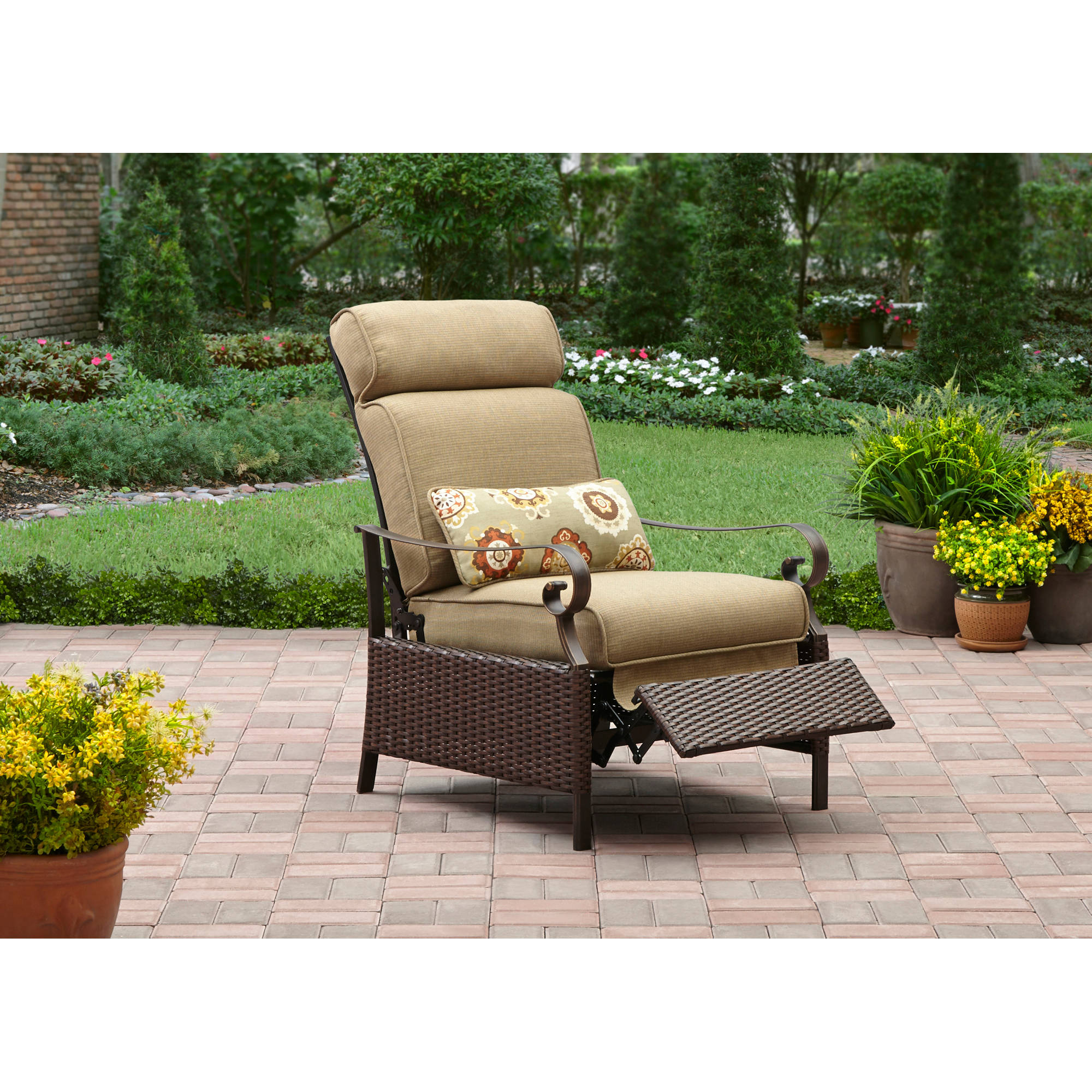 Better Homes and Gardens Riverwood Recliner Tan  sc 1 st  Walmart & Patio Reclining Chairs islam-shia.org