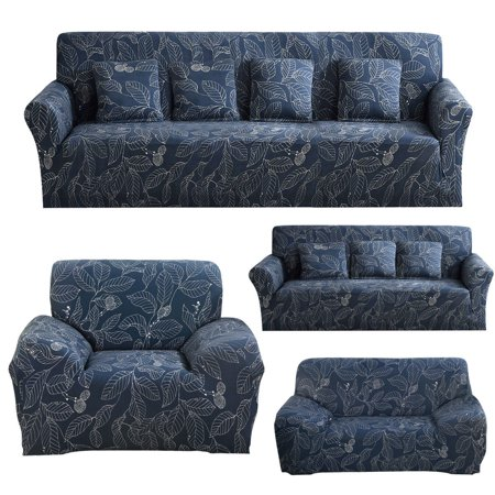 Stretch Sofa Covers 1 2 3 4 Seater Cover Loveseat Chair Furniture Protector Elastic Fabric Soft Couch Slipcovers Blue Leaves