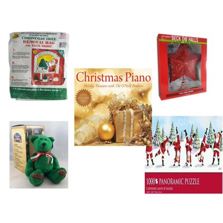 - Christmas Fun Gift Bundle [5 Piece] -  Tree Removal Bag And Tree Skirt - Deck The Halls Red Star Tree Topper 11.5