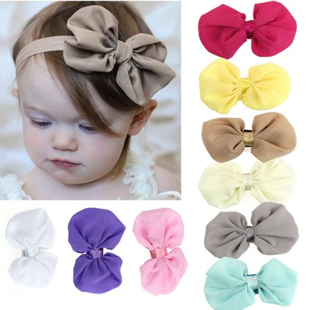 9PCS Babys Girls Chiffon Flower Elastic Headband Photography Headbands (Silk Flower Headbands)