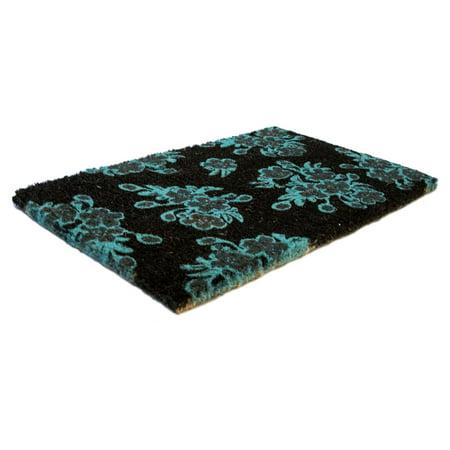 Entryways Aqua Floral Handwoven Coconut Fiber Door Mat