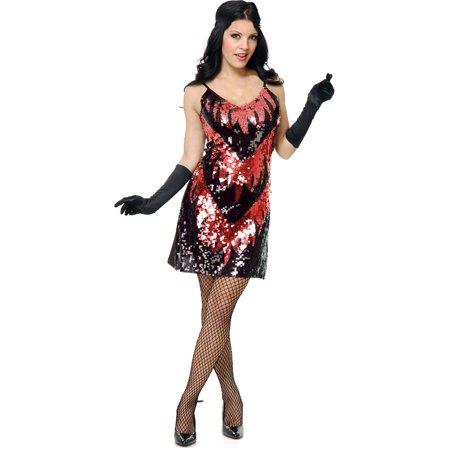 Adults Womens 20s Black Red Flapper Girl Sequin Dress Costume Medium 8-10](20s Clothing Women)