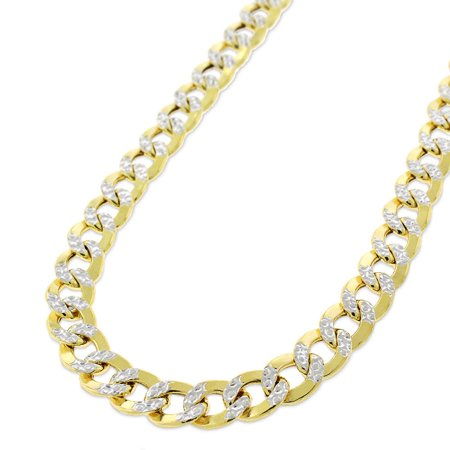 Crislu Pave Necklace (10k Yellow Gold 6.5mm Hollow Cuban Curb Link Diamond Cut Two-Tone Pave Necklace Chain 20