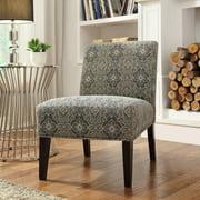Weston Home Blue Print Fabric Lounger Chair - Rich Espresso
