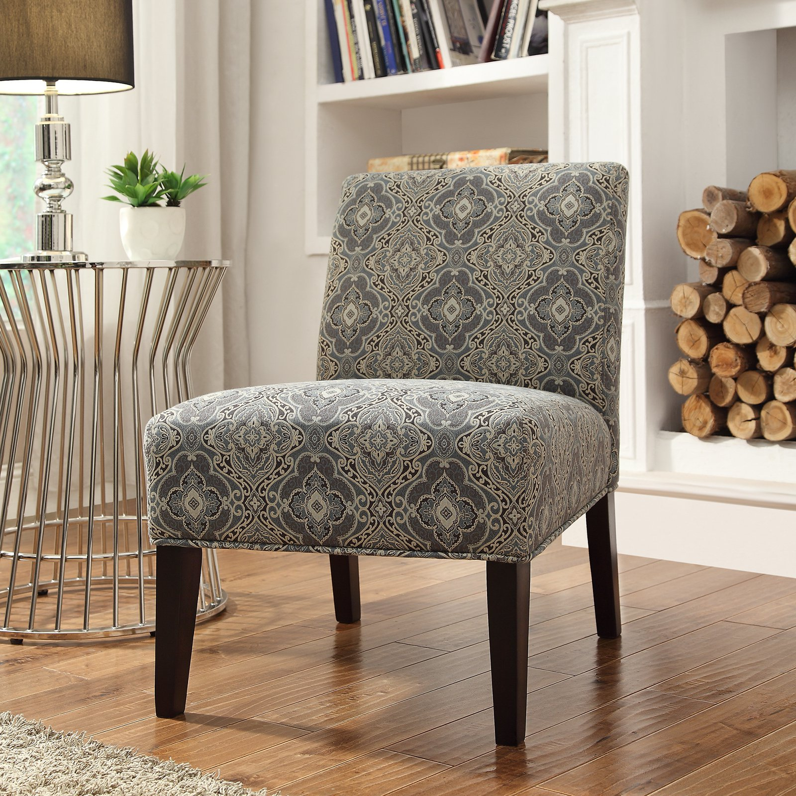 Weston Home Blue Print Fabric Lounger Chair - Rich Espresso