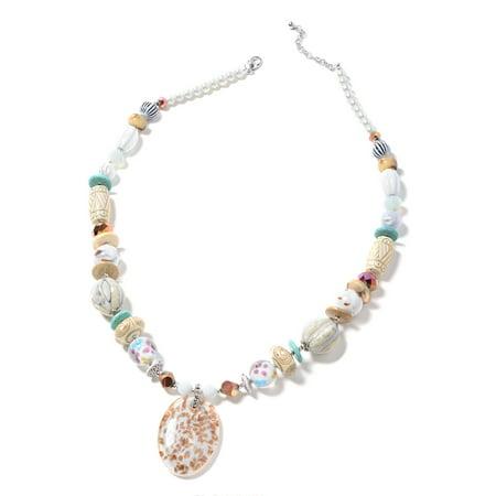 Yellow Murano Millefiori Glass Iron Pendant with Beads Necklace for Women Girls 30