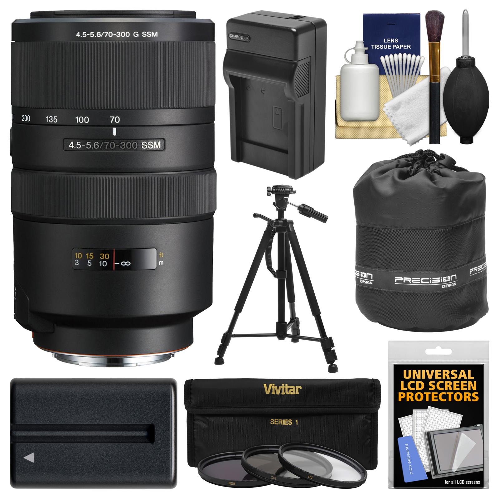 Sony Alpha A-Mount 70-300mm f/4.5-5.6 G SSM Zoom Lens with NP-FM500H Battery & Charger + Tripod + 3 Filters + Pouch + Kit for A37, A58, A65, A68, A77 II, A99 Cameras