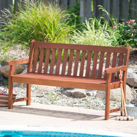 Coral Coast Amherst Straight Back Outdoor Wood Garden Bench ()