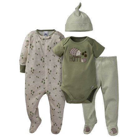 Gerber Onesies Bodysuit, Pant, Cap, and Sleep N Play Set, 4pc (Baby Boys) (Glitter Onesie)