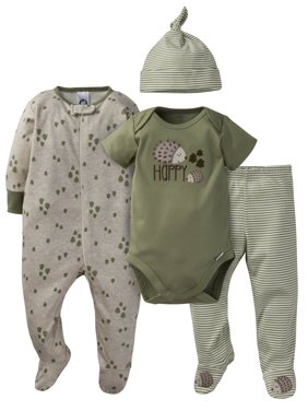 Gerber Onesies Bodysuit, Pant, Cap, and Sleep N Play Set, 4pc (Baby Boys)