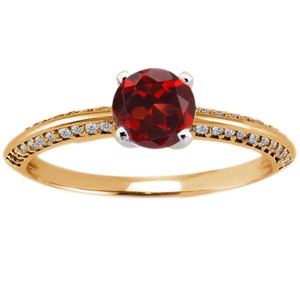 0.94 Ct Round Red Garnet Diamond 18K Yellow Gold Ring