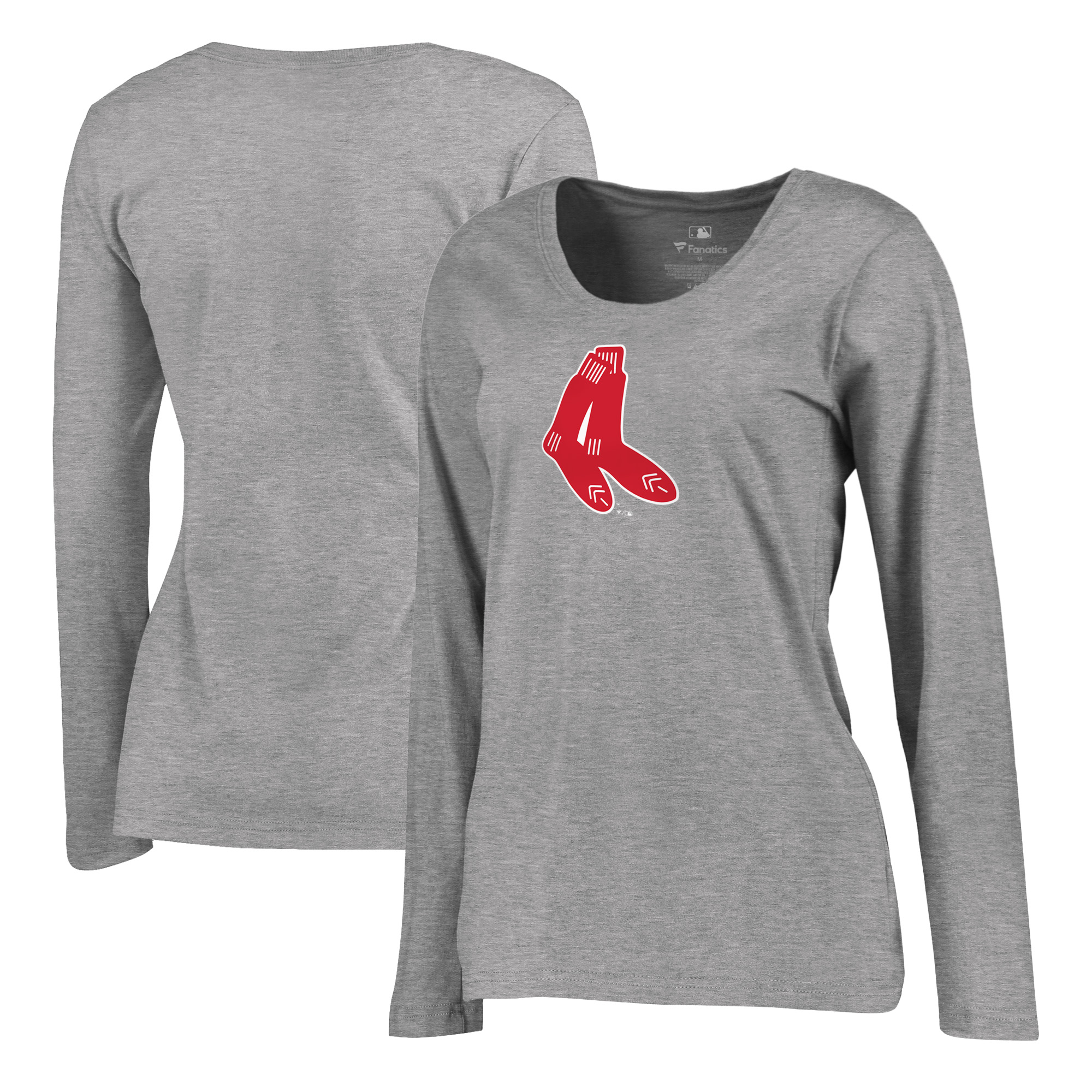 Boston Red Sox Fanatics Branded Women's Plus Size Cooperstown Collection Huntington Long Sleeve T-Shirt - Heathered Gray