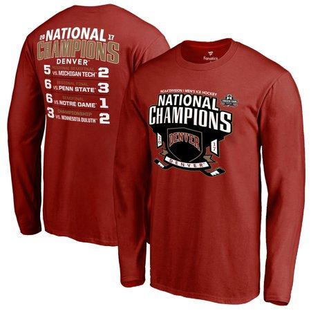 Denver Pioneers Fanatics Branded 2017 NCAA Men's Hockey National Champions Schedule Long Sleeve T-Shirt - Cardinal 2005 Ncaa National Champions