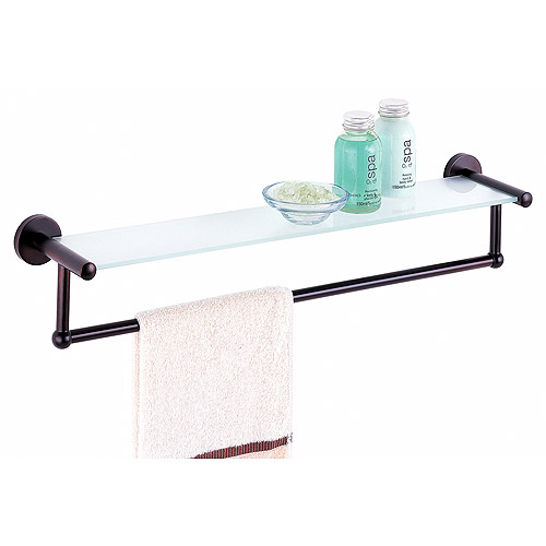 Bathroom Shelf with Towel Bar, Oil-rubbed Bronze by Organize It All