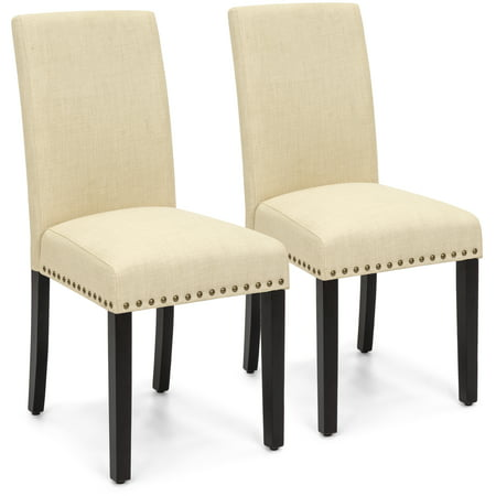 Best Choice Products Set of 2 Upholstered Fabric High Back Parsons Accent Dining Chairs for Dining Room, Kitchen w/ Wood Legs, High Density Foam Padding, Nail Head Stud Trim - Ivory (Wood Back Upholstered Chair)