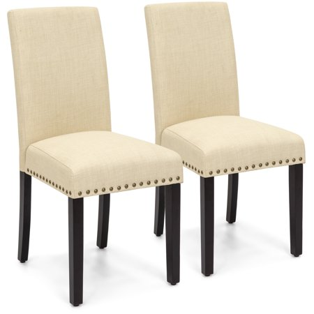 Best Choice Products Set of 2 Upholstered Fabric High Back Parsons Accent Dining Chairs for Dining Room, Kitchen w/ Wood Legs, High Density Foam Padding, Nail Head Stud Trim - (Parsons Chair Set Chair)