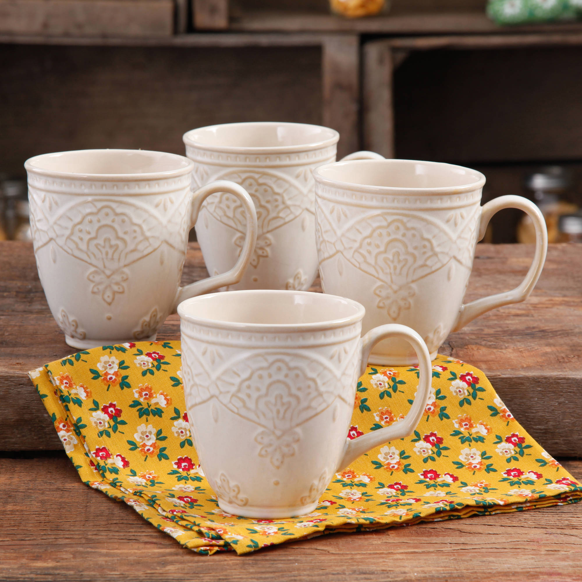 The Pioneer Woman Farmhouse Lace Mug Set, 4-Pack