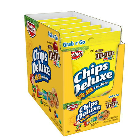Keebler Chips Deluxe, Rainbow Cookies with M&M's Mini Chocolate Candies, Grab 'n' Go, 18 oz 6 Ct