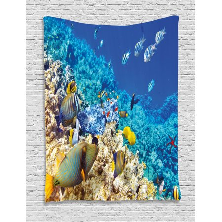 Ocean Decor Tapestry  Barrier Reefs Covered Sea With Lagoon Zebrafish Anemonefish Picture  Wall Hanging For Bedroom Living Room Dorm Decor  60W X 80L Inches  Turquoise Light Yellow  By Ambesonne