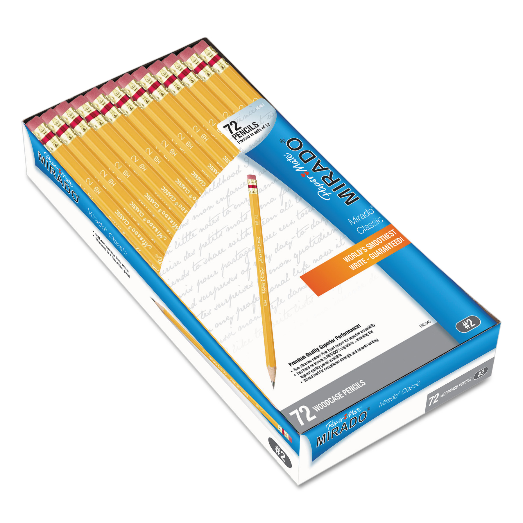 Paper Mate Mirado Pencil, HB #2, Yellow, 72/Pack