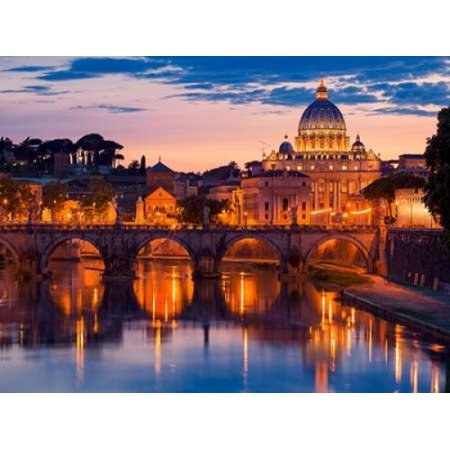 Night view at St Peters cathedral Rome Stretched Canvas - Anonymous (11 x 14) (St Peters Cathedral)