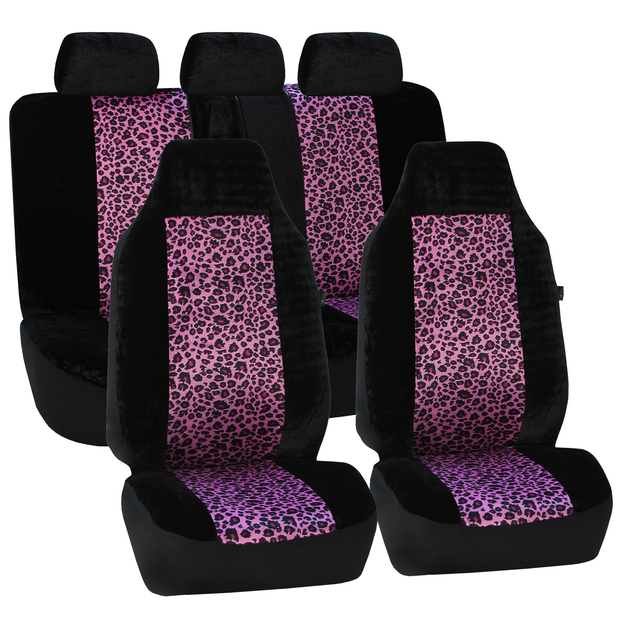 FH Group Purple Leopard Animal Print Car Seat Covers, Airbag Compatible and Split Bench, Full Set