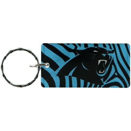 Carolina Panthers Zebra Printed Acrylic Team Color Logo Keychain - No Size - Carolina Panther Colors