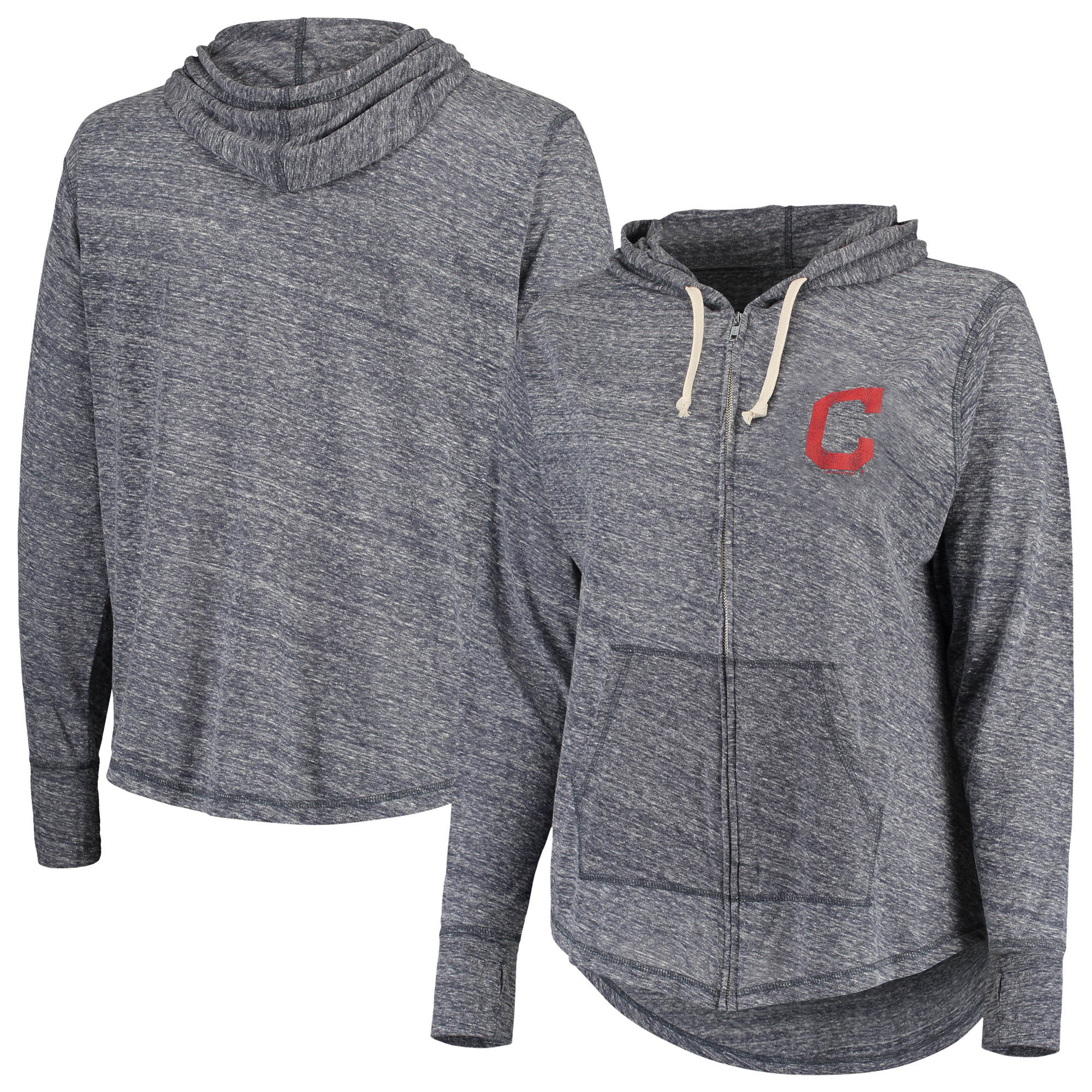 Cleveland Indians Soft as a Grape Women's Plus Size Full-Zip Hoodie - Navy