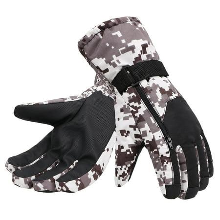 Simplicity Men's Camouflage Ski & Snowboarding 3M Thinsulate Waterproof Winter Gloves,L,Black Camo ()
