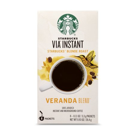 Starbucks VIA Instant Veranda Blend Light Blonde Roast Coffee (1 box of 8 packets)