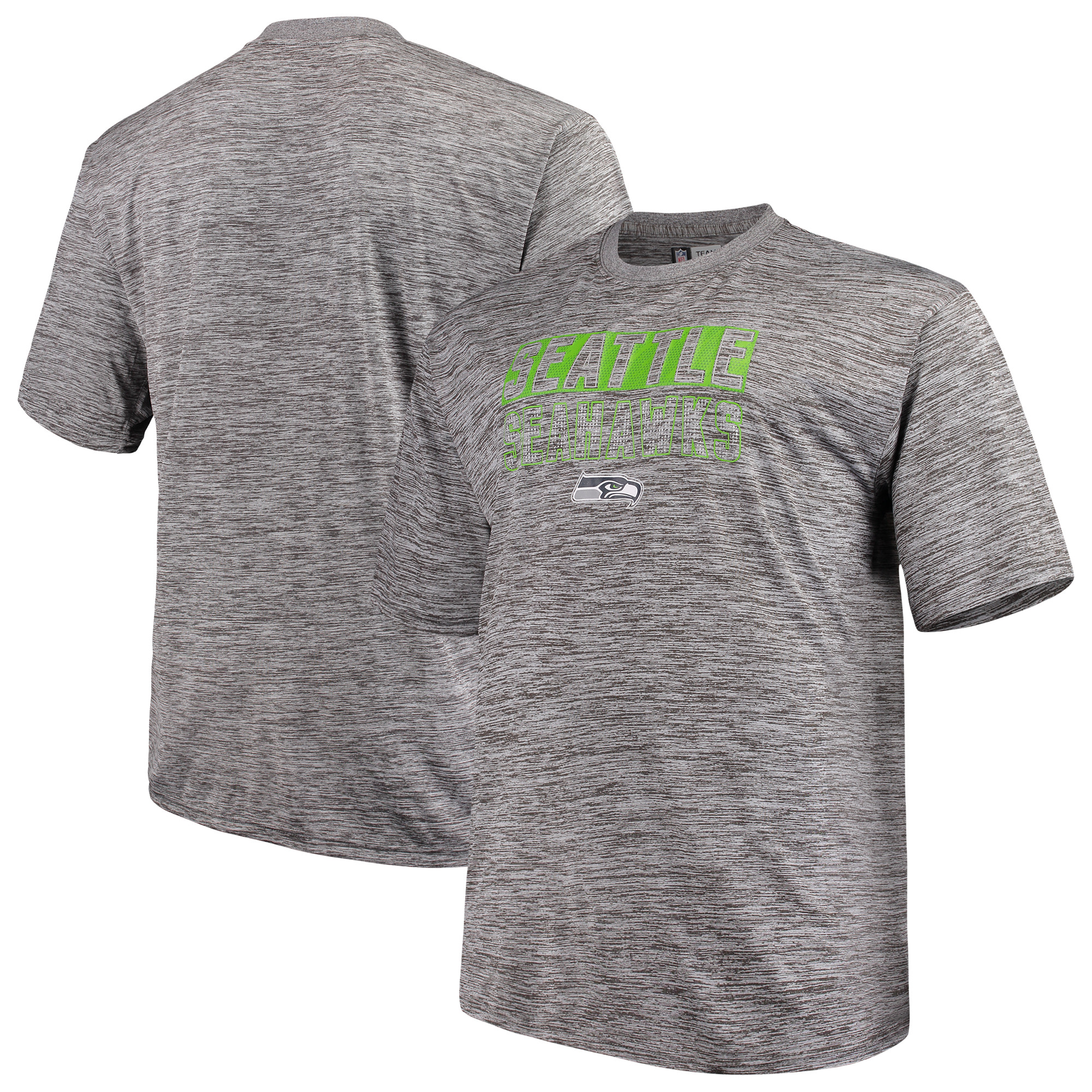 Men's Majestic Heathered Gray Seattle Seahawks Big & Tall Last Chance Ply Reflective T-Shirt
