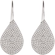 Lesa Michele Cubic Zirconia 18kt White Gold Teardrop Earrings
