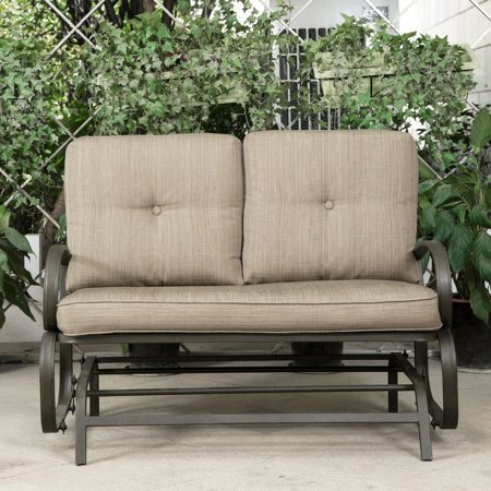 Cloud Mountain Patio Glider Bench Outdoor Cushioned 2 Person Swing Loveseat Rocking Seating Rocker