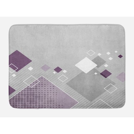 Abstract Bath Mat, Geometric Composition with Different Colored Squares  Striped Dotted Rhombus, Non-Slip Plush Mat Bathroom Kitchen Laundry Room