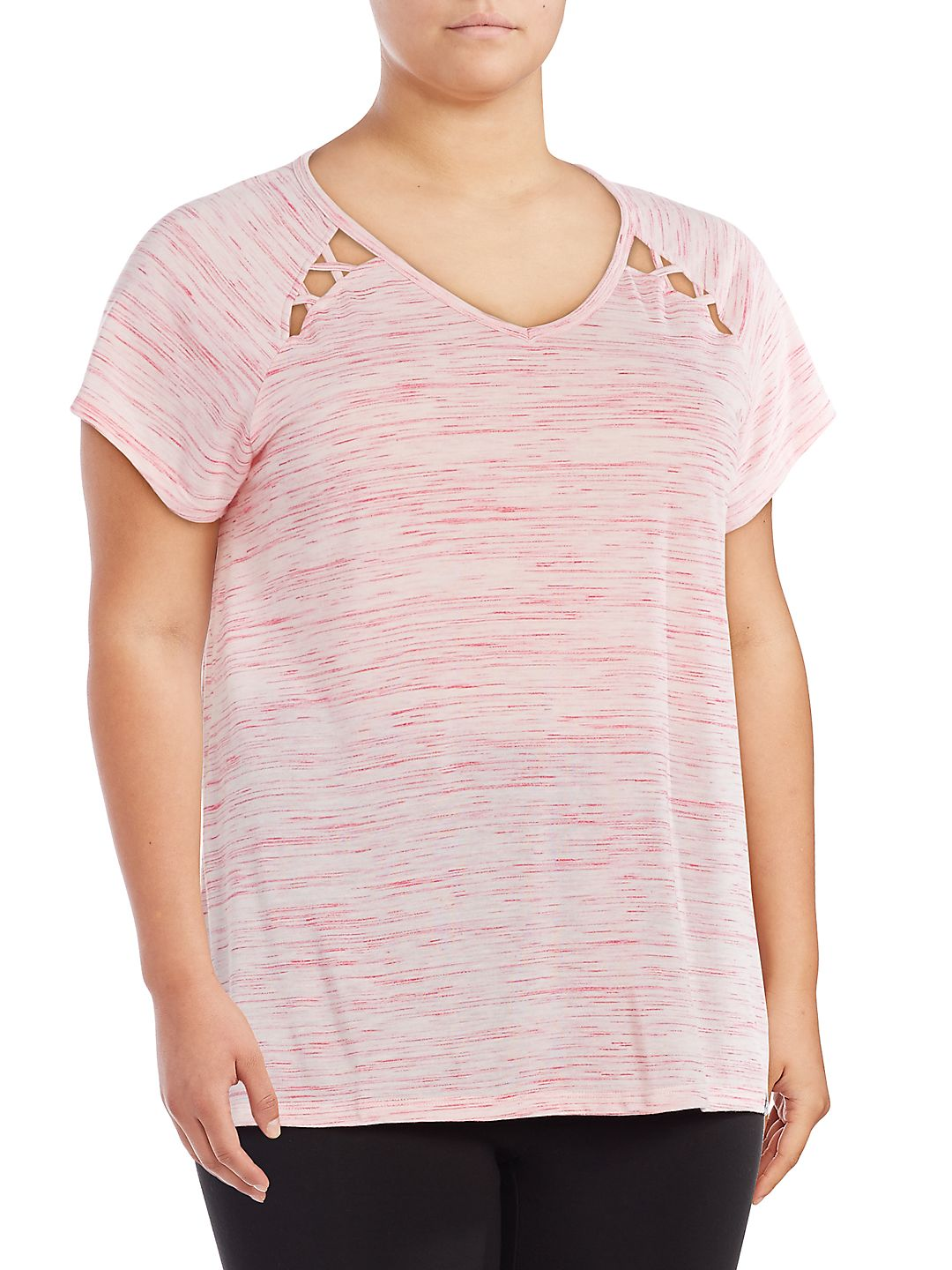 Plus Short Sleeve Cutout Top