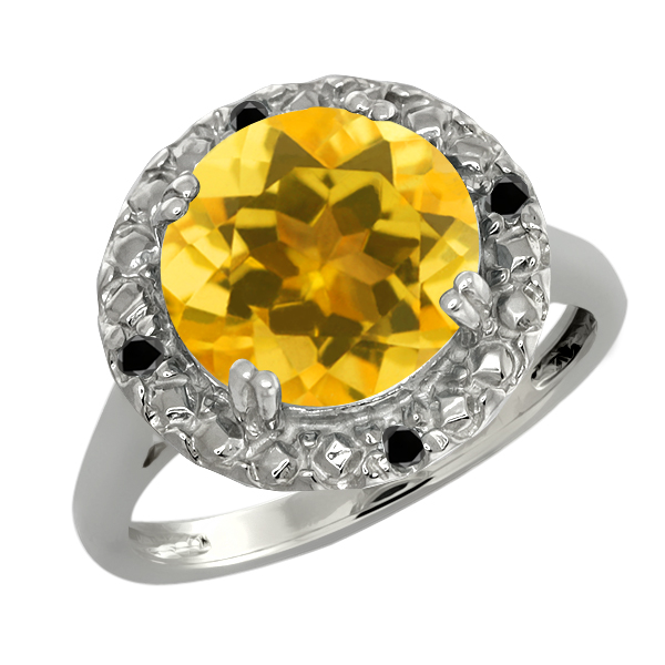 3.94 Ct Round Yellow Citrine and Black Diamond Sterling Silver Ring