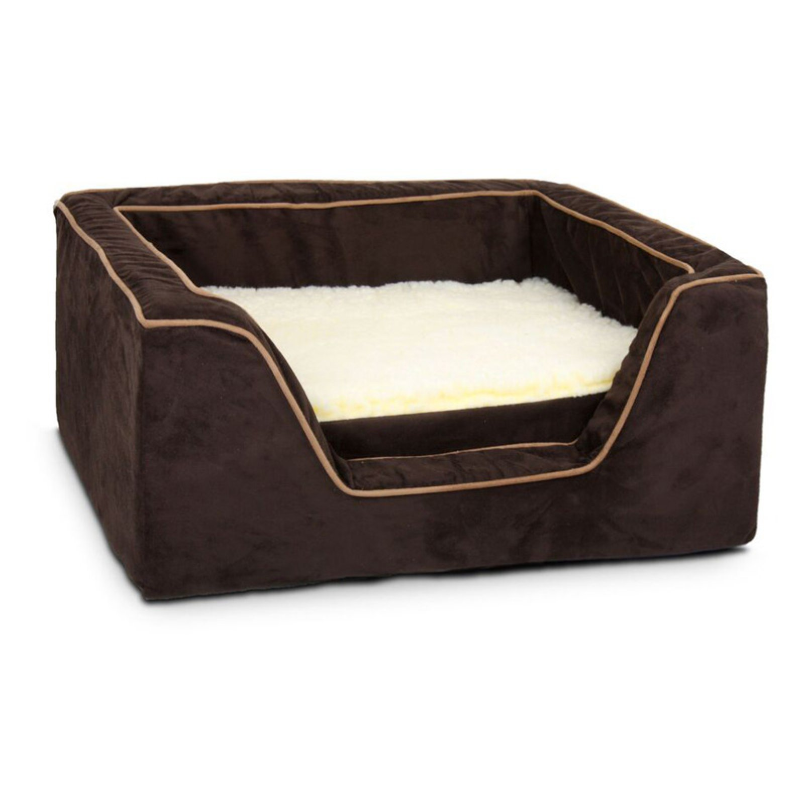 Snoozer Small Memory Foam Square Dog Bed - Peat/Coffee