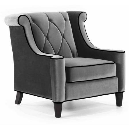 Armen Living Barrister Chair Gray Velvet With Black