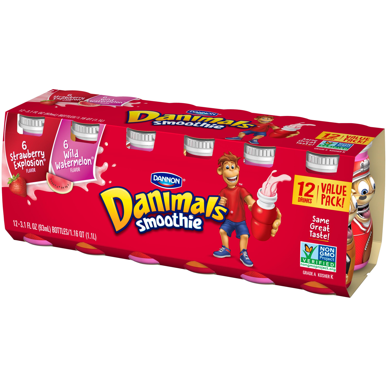 Danimals Strawberry Explosion/Wild Watermelon Flavor Smoothies, 3.1 oz., 12 Count