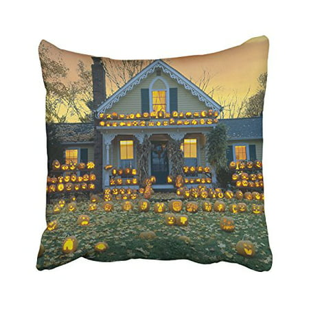 WinHome Happy Halloween House Decorated With Lots Of Funny Pumpkin Lights Decorative Pillowcases With Hidden Zipper Decor Cushion Covers Two Sides 18x18 inches (Decorated Pumpkins)