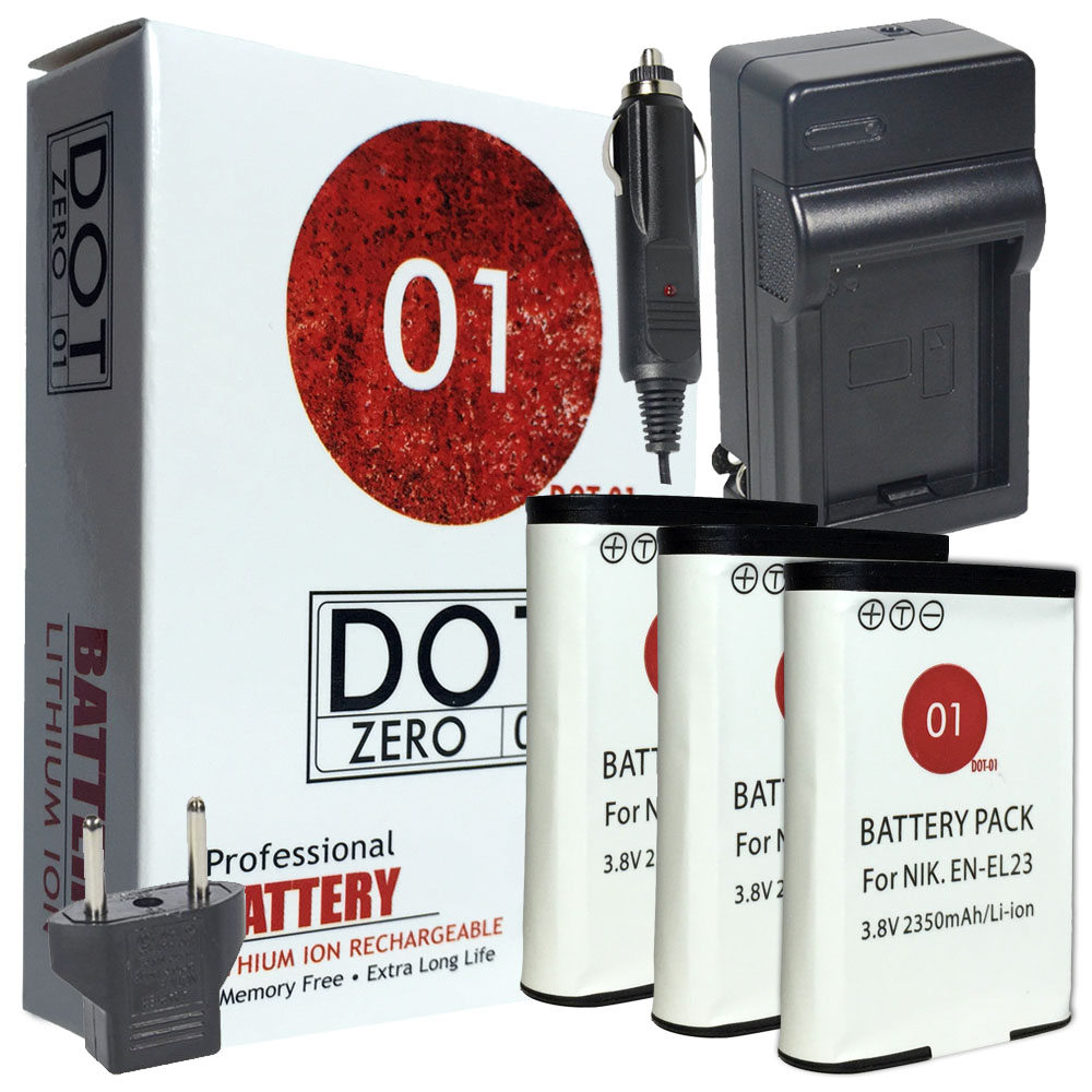 3x DOT-01 Brand 2350 mAh Replacement Nikon EN-EL23 Batteries and Charger for Nikon P610 Digital Camera and Nikon ENEL23